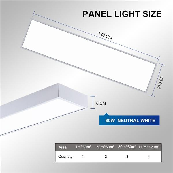 LED Panel Ceiling Light 120x30CM 60W, Low Profile White Body Suspended & Surface Mount Ceiling Panel Drop, 4000K Neutral White 6000LM, Flat Panel for Residential Office Shop Lighting