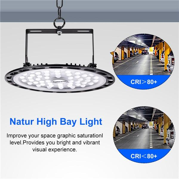 bapro 200W LED UFO Industrial lamp, Cold White 6000K led Shop Lights, IP54 Waterproof,Powerful Workshop Light for Workshops and Factories Industrial Ceiling Light[Energy Class A++]